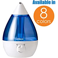 Crane Ultrasonic Cool Mist Humidifier, Filter-Free, 1 Gallon, for Home Bedroom Baby Nursery and Office, Blue and White