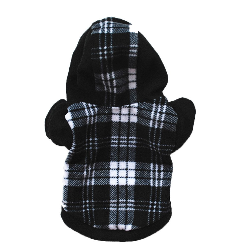 Geetobby Pet Hoodies Puppy Lattice Sweatshirt Warm Fleece Coat Sweater with Cap