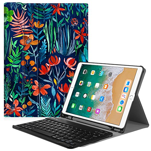 Fintie iPad Pro 10.5 Keyboard Case with Built-in Apple Pencil Holder - SlimShell Protective Cover with Magnetically Detachable Wireless Bluetooth Keyboard for Apple iPad Pro 10.5 2017, Jungle Night