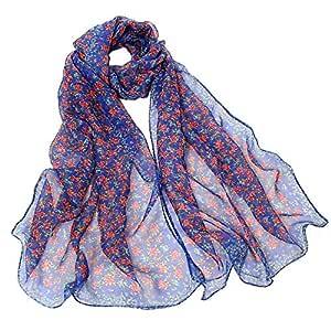 NJTSXLM Bandana Girls Long Soft Scarf Summer Ladies Small Floral Print Chiffon Scarves Women Casual Wrap Scarf Hijab (Color : Light Blue)