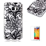 For Samsung Galaxy S7 Case [with Free Screen Protector],Funyye Soft TPU Gel Case Cute Simple [Colorful Painting Pattern] Ultra Slim Flexible Protective Skin Back Cover for Samsung Galaxy S7 - Black Flower