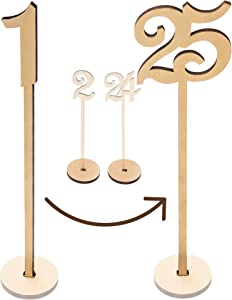 """Merry Expressions - Wooden Wedding Table Numbers 1-25 Pack - 13.5"""" Tall Large Extra Thick Heavy Duty Commercial Grade Quality Wood - Best for Receptions, Banquets, Cafés, Restaurants, Hotels, Parties"""