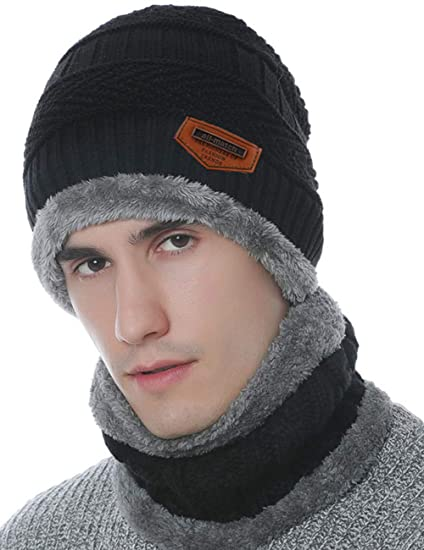 76a3b1a94e4 Maylisacc Winter Unisex Slouchy Snow Ski Beanie Hat and Neck Warmer Scarf  Two-Piece Set