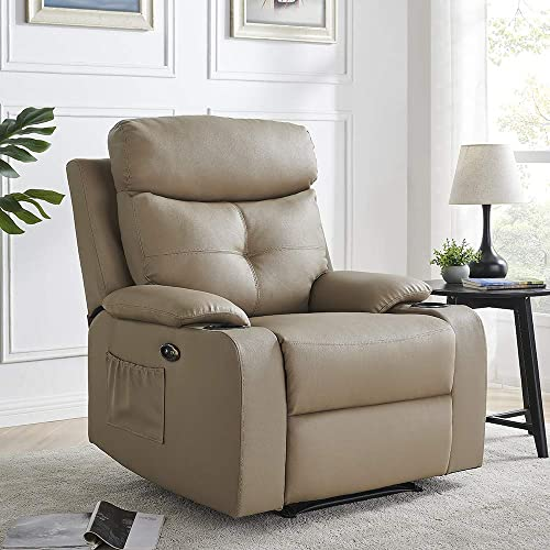 Thomasliving Leather Power Recliner-Overstuffed Leather Adjustable Electric Reclining Sofa Chair