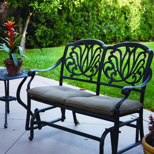 Darlee Elisabeth 2 Piece Cast Aluminum Patio Bench Glider Conversation Seating Set
