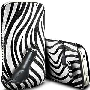 ONX3 Alcatel One Touch Fierce protección Zebra PU Leather Slip Tire Cord En Pouch Case Quick Release y 12v Micro USB cargador de coche (Blanco y Negro)