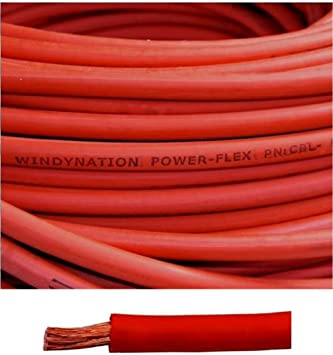 Inverter Solar by WindyNation Car RV 4 Gauge 4 AWG 50 Feet Red Welding Battery Pure Copper Flexible Cable Wire