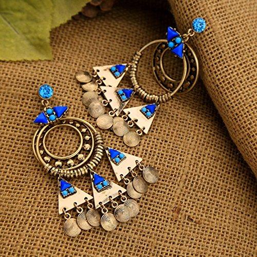 ptk12 Vintage Retro Style Coin Tassels Dangle Earring Beach Bohemian Ethnic Jewelry Belly Dance Accessory Charm Earrings by ptk12 (Image #2)