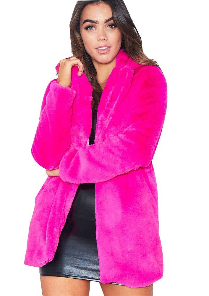 Women Lady Polo Collar Faux Fur Coat Female MidLong Long Sleeve Casual Winter Dresses Style Outwear,Pink,L