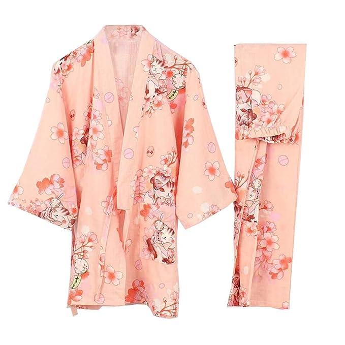 Fancy Pumpkin Traje de Pijama de Albornoz Yukata Kimono Robe para Mujer [ Gato Rosa,