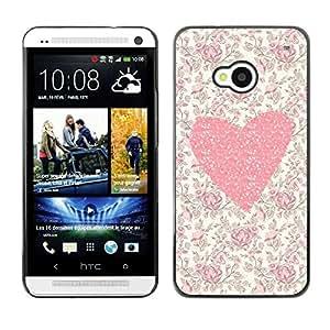 FECELL CITY // Duro Aluminio Pegatina PC Caso decorativo Funda Carcasa de Protección para HTC One M7 // Floral Flowers Love Girl Spring