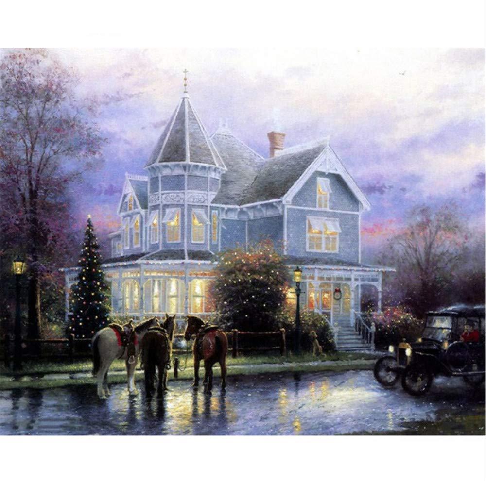 Waofe Villa Europa Edificio Paisaje Diy Pintura Por Pintura Números Kits Colorear Pintura Por Por Números Regalo Único Para La Decoración Casera b47890