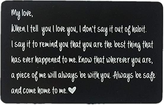 Amazon Com Luvimie Engraved Wallet Inserts Personalized Wedding Anniversary Gift For Men Best Husband Gifts Valentines Gifts Deployment Gifts For Men Fathers Day Dad Gifts Fiance Gifts Office Products