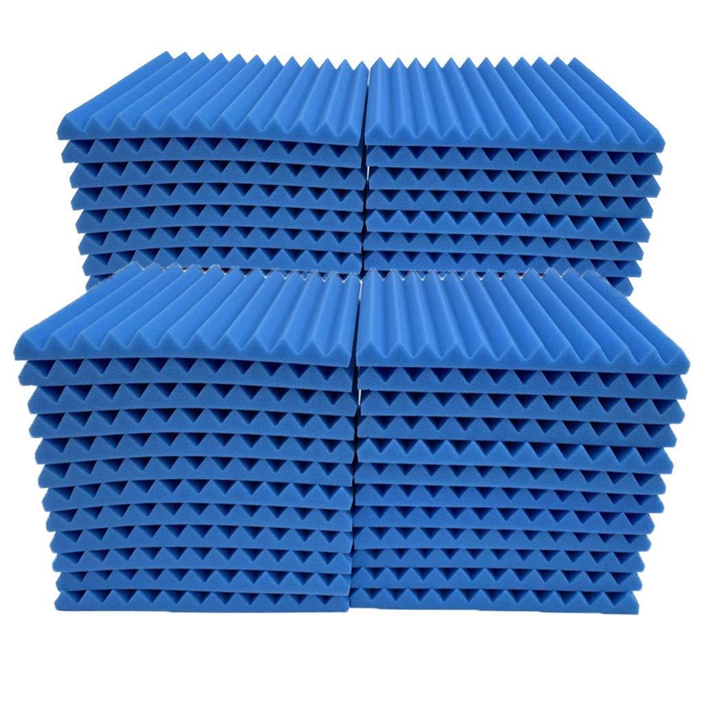 Soundproof Foam, 48Pcs Acoustic Panels Studio Foam Wedges Fireproof Soundproof Padding Wall Panels for Studio and KTV etc (Blue)