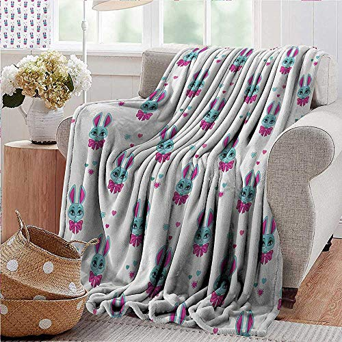 PearlRolan Outdoor Blanket,Teen Girls,Pattern of Cute Vivid Bunny Heads with Bowtie Funny Lovely Artwork,Fuchsia and Turquoise,300GSM,Super Soft and Warm,Durable Throw Blanket 30