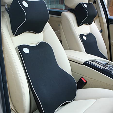 HAOCOO Car Lumbar Support Cushion And Headrest Neck Pillow Kit Travel Auto Head Rest
