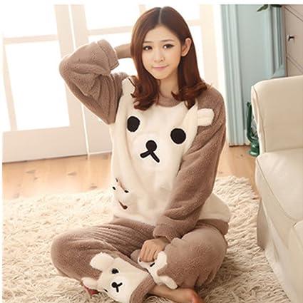 3112609373f1 Amazon.com  KAKA(TM Womens Girls  Warm Cute Winter Home Soft Cartoon  Flannel Pajamas Sets Light Brown Bear XL  Arts