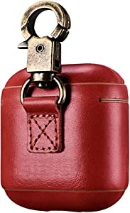 AirPods Case Cover with Hook Clasp Handmade Leather Protective Shockproof Case Compatible with Apple AirPods 1 & 2 Charging Case [Front LED Not Visible] [Supports Wireless Charging] (Red)