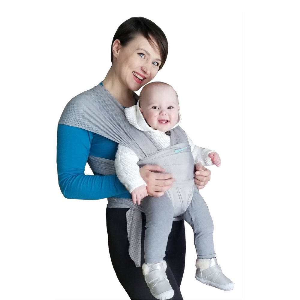 The Breezy Wrap Quick-Dry Cotton-mesh Baby Carrier Cool, Breezy, Sweat-Free Baby-Wearing Adventures Strong and Sturdy but Light and Minimal 5-35lbs Supports Charity Silver