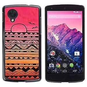 Indio nativo American Pattern Pink Sunset - Metal de aluminio y de plástico duro Caja del teléfono - Negro - LG Nexus 5 D820 D821