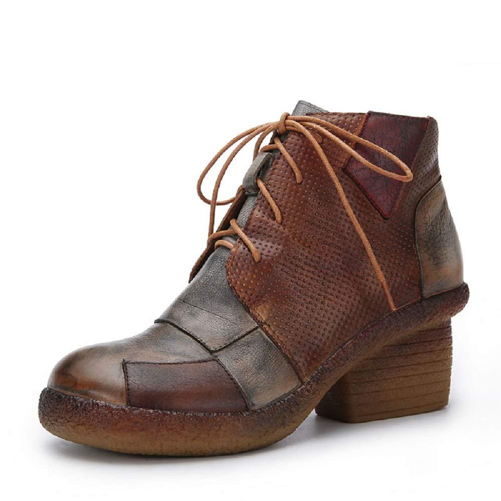 ZHRUI Frauen Mischfarbe Stiefel Block Leder Reißverschluss Vintage Schuhe (Farbe   Braun, Größe   EU 36)
