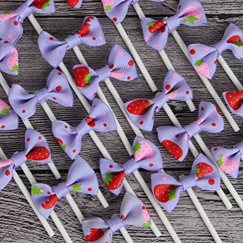 INNORU [Pack of 18] Children's Birthday Baby Shower Party Bow Dots Cupcake Toppers Strawberry Cake Decoration Supplies, Purple ()
