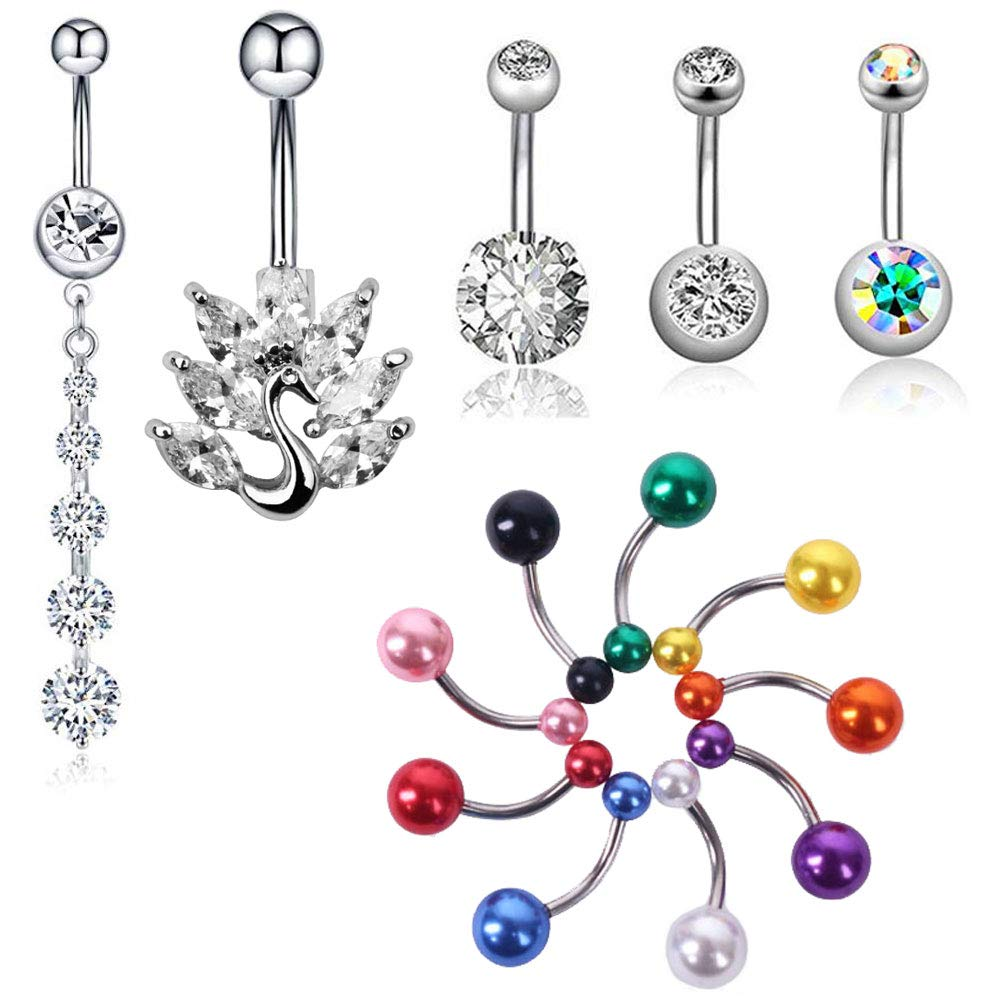 Amazon Com Y F 14pcs Stainless Steel Acrylic Belly Button Rings Set