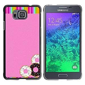 Caucho caso de Shell duro de la cubierta de accesorios de protección BY RAYDREAMMM - Samsung GALAXY ALPHA G850 - Doughnuts Rainbow Pink Glitter Sweets
