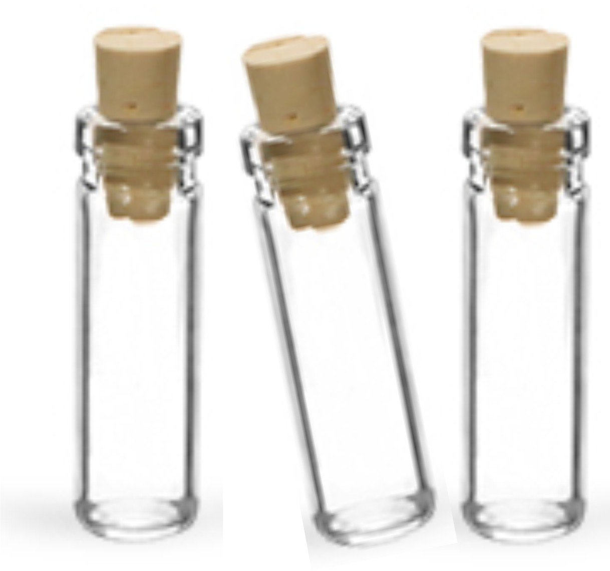 MagnaKoys 1/4 Dram 0.31 oz Clear Glass Lip Vials w/Cork Stoppers for Crafts Science Lab Oils Geocaching (pack of 7)