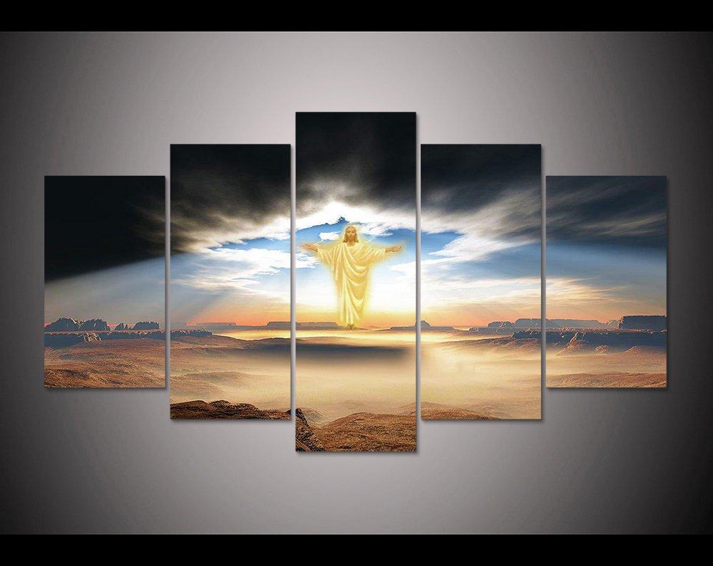印刷5個キャンバス壁アート印刷The Lord Jesusペイント壁アート画像ホーム装飾キャンバスアートプリントキャンバスのpt1058 L Large 額入り B074RZGXK3