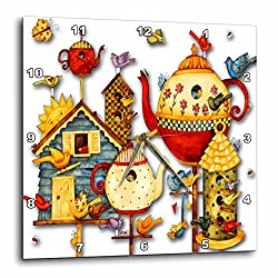 3dRose Pretty Decorative Teapots and Birdhouses - Wall Clock, 10 by 10-Inch (dpp_184658_1)