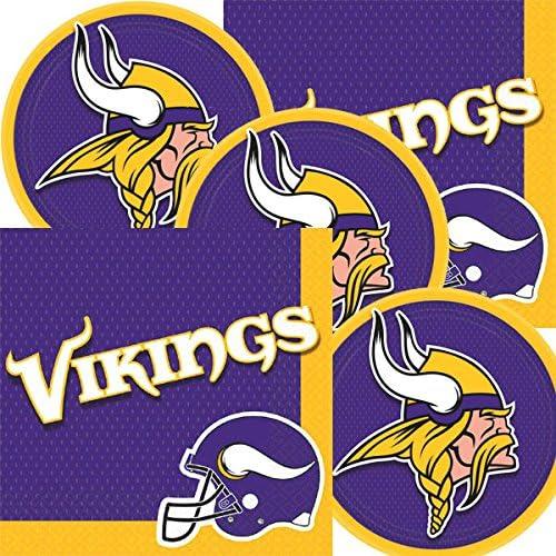 Amazon Com Minnesota Vikings Nfl Football Team Logo Plates And Napkins Serves 16 Kitchen Dining