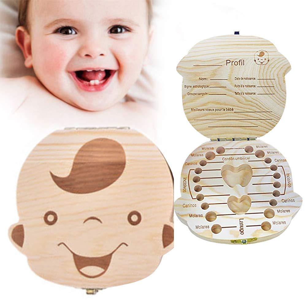 Kinder Z/ähne Speicher Aufbewahrungsboxen LILITRADE Baby Zahn Box aus Holz Zahn Andenken Box Z/ähne Aufbewahrungskoffer Milchz/ähne Box f/ür Baby