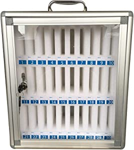 Trycooling 30 Slots Aluminum Alloy Clear Cell Phones Storage Cabinet Pocket Chart Storage Locker Box with Handle for Office Classroom