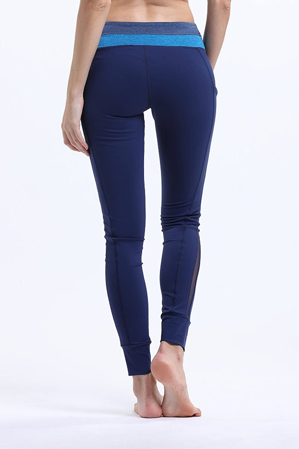 Melory Womens Power Flex Yoga Pants Mesh Patchwork Colorblock Workout Running Stretch Leggings Non See-Through Fabric
