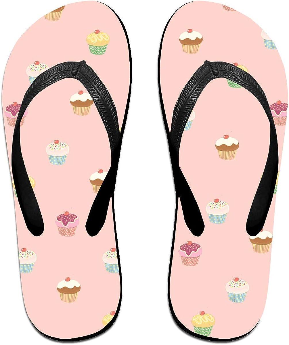 Couple Slipper Cupcakes Print Flip Flops Unisex Chic Sandals Rubber Non-Slip Spa Thong Slippers