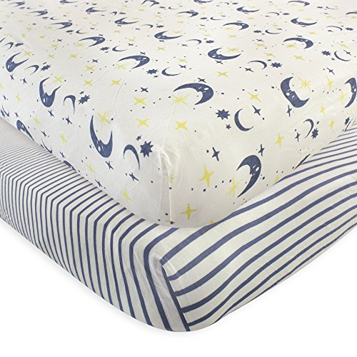 Touched by Nature 2 Piece Organic Fitted Crib Sheets, Moon, One Size 2 Pack Baby Bedding