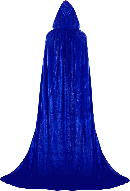Proumhang Black Hooded Cloak Maxi Cape Velvet Adult Costume Grim Reaper Vampire Party Halloween Costumes 110 cm