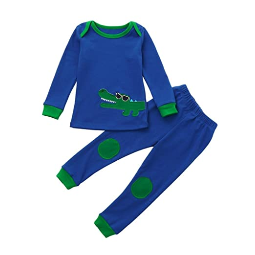 7a285c1286c Amazon.com  Cute Kid Baby Girl Boy Warm Animal Printed Tops+Pants Pajamas  Home Clothes  Clothing