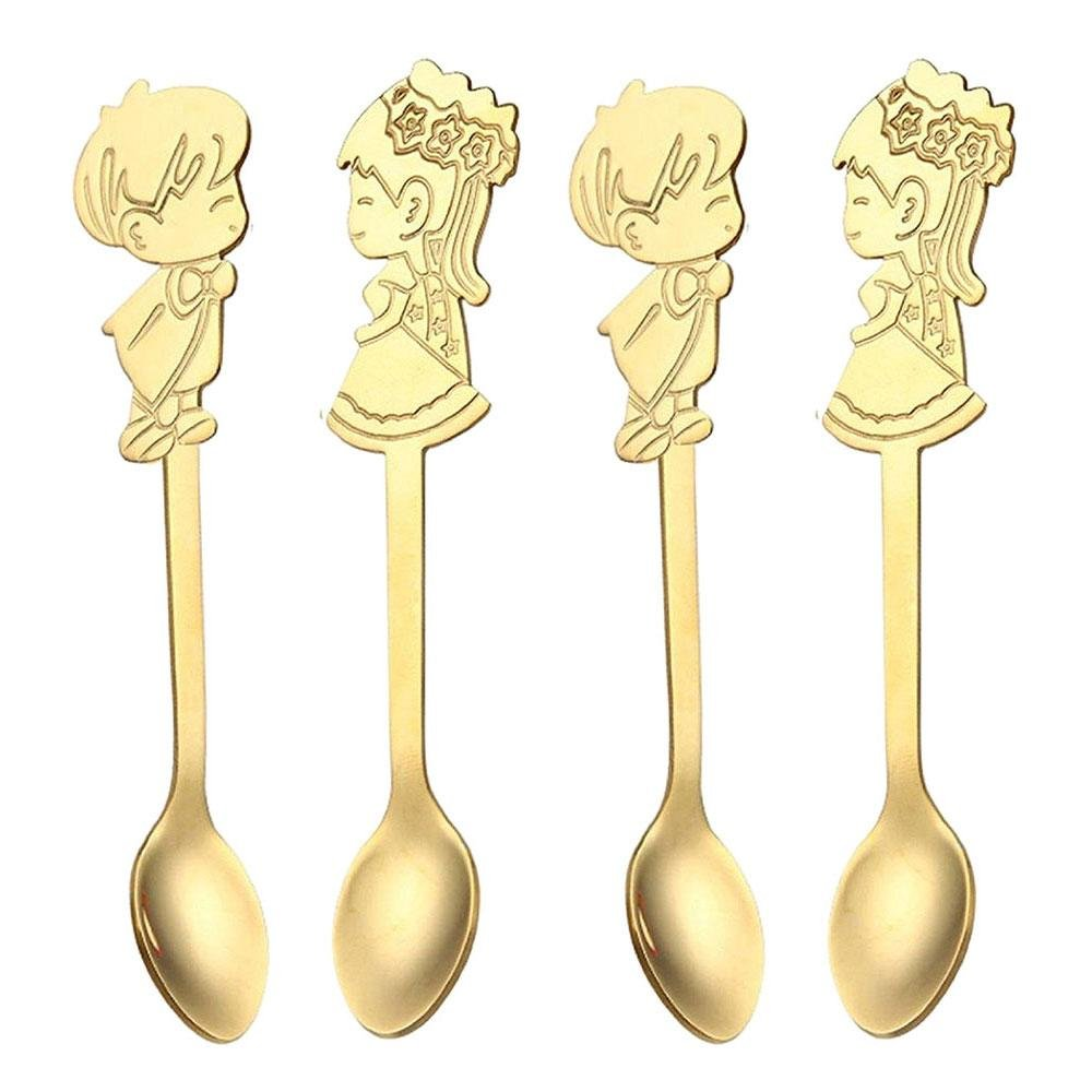 Pawaca 4PCS Coffee Spoons Durable Lovely Boy and Girl Stainless Steel Couples Spoons for Tea Milk Coffee Stirring Kitchen Dinner Table Lover Spoon Set(Golden)