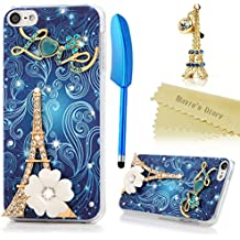 Mavis's Diary iPod Touch 6 Case 3D Handmade Bling Crystal Golden Eiffel Tower White Flower Blue Vines Sparkly Diamonds Gems Clear Frame Hard PC Cover for iPod Touch 6th Generation & Dust Plug & Stylus