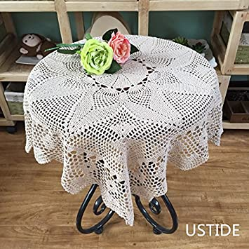 Handmade Square Crochet Table Doily Cotton Lace Tablecloth, 30 Inch