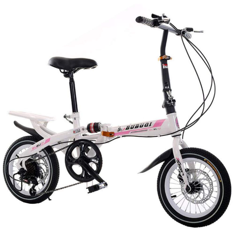 AOHMG Folding Bikes Lightweight Folding Bicycle, 6Speed Foldable Bike Reinforced Frame,White Pink_14in