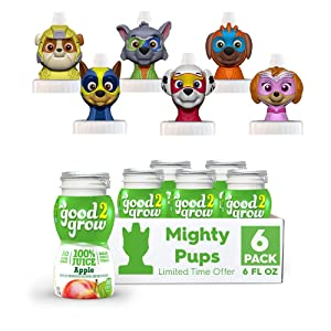 NEW good2grow Paw Patrol Mighty Pups Character 6 Pack Apple Juice, 6-Ounce Spill Proof Character Top Bottles, Non-GMO with no Sugar Added and Excellent Source of Vitamin C