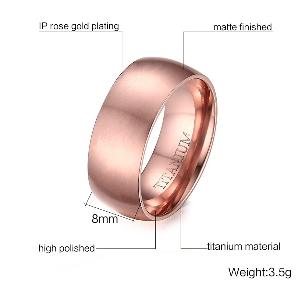 Men\'s 8mm 18k Rose Gold Plated Domed Brushed Finish Titanium Wedding ...
