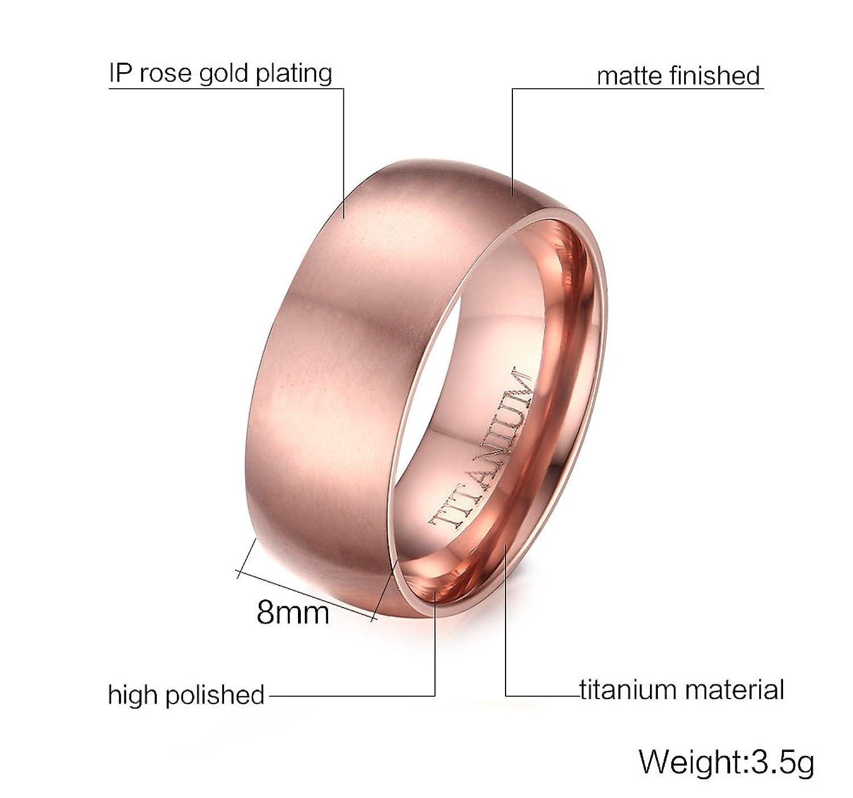Amazon.com: Women\'s 8mm Titanium IP Rose Gold Plated Plain Wedding ...