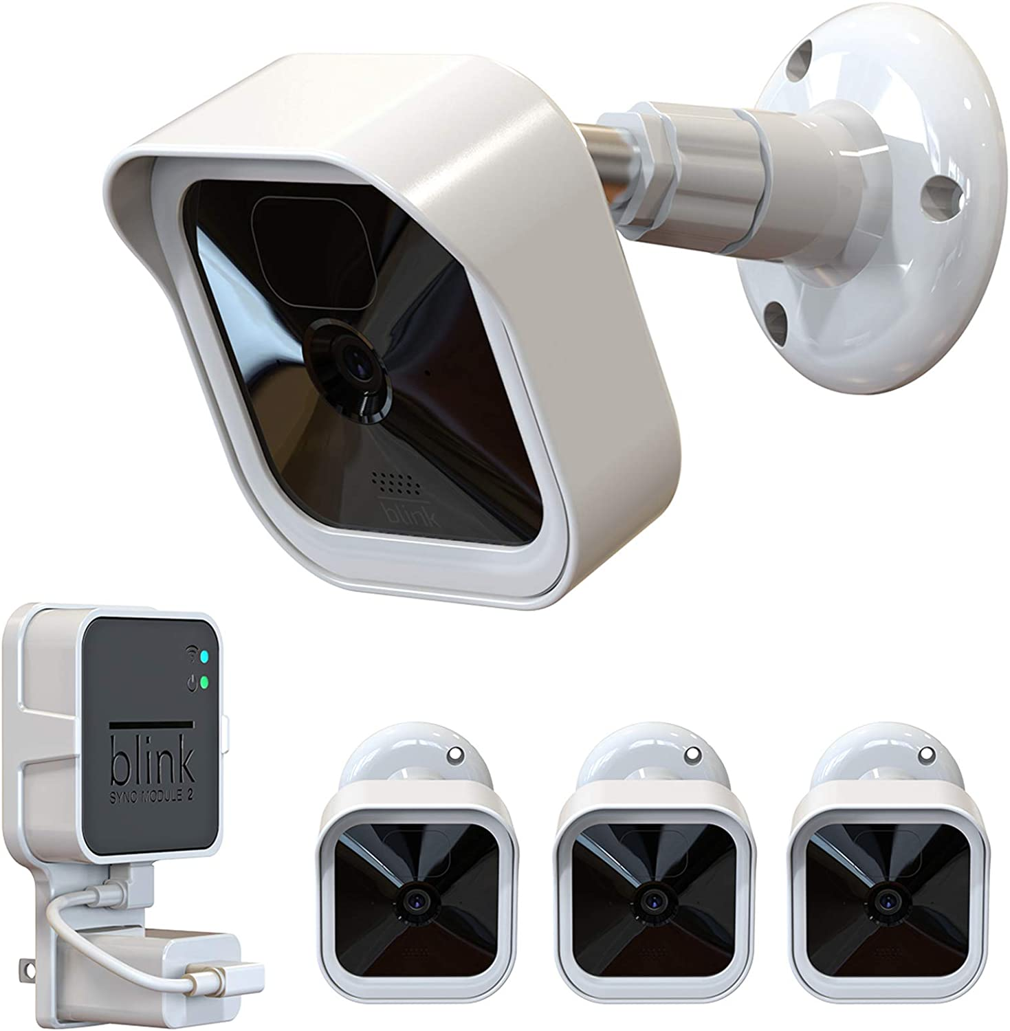 Blink Outdoor Camera Mount, Weatherproof Protective Cover and 360 Degree Adjustable Mount with Blink Sync Module 2 Outlet Mount for All-New Blink Outdoor Indoor Security Camera System (White, 3 Pack)