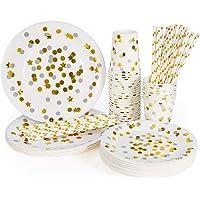 esonmus Vajilla Desechable 128pcs Juego de Cubiertos de Papel para 32 Personas(32 Vasos de Papel + 32 Bandeja de Papel…