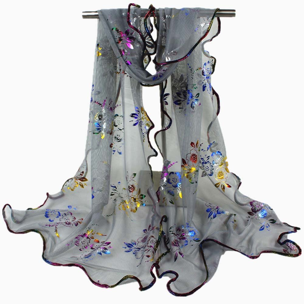 Egmy Clearance Sale ❤️ Newest Women Colorful Flower Printing Lace Scarf Long Soft Wrap Shawl Stole Pashmina (Gray)