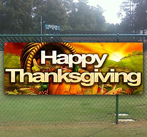 Happy Thanksgiving 13 oz Heavy Duty Vinyl Banner Sign with Metal Grommets, New, Store, Advertising, Flag, (Many Sizes Available) -